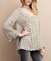 Jane Oatmeal Crochet-Accent V-Neck Top