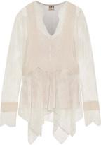 Haute Hippie Pintucked chiffon-paneled lace blouse