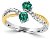 Effy Brasilica Diamonds, Emerald, 14K White Gold and 14K Yellow Gold Bypass Ring