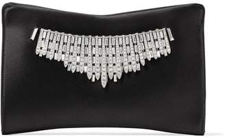 Jimmy Choo VENUS Black Satin Clutch Bag with Tiara Crystals
