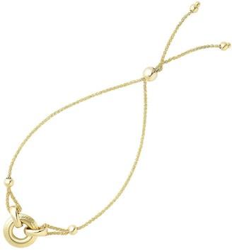 Overstock Mcs Jewelry Inc 14 KARAT YELLOW GOLD ADJUSTABLE ANCHORED RING TO CENTER ELEMENT FRIENDSHIP BRACELET