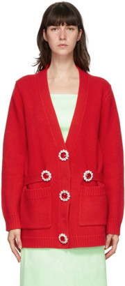 Christopher Kane Red Wool Cardigan