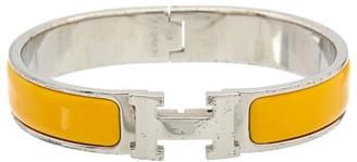 Hermes Palladium & Yellow Enamel Narrow Clic-Clac H Bracelet