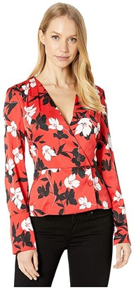 BCBGMAXAZRIA Woven Blouse (Rosso/Rosso Floral) Women's Clothing