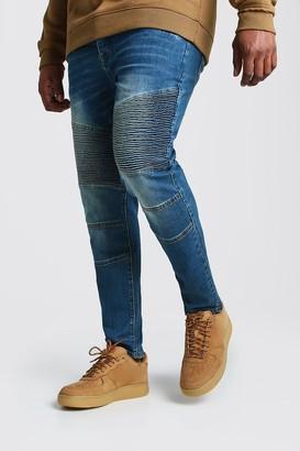 boohoo Mens Blue Plus Size Skinny Fit Worn Biker Jeans, Blue