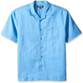 Stacy Adams Men's Big-Tall Linen Blend Solid Color Short Sleeve Shirt