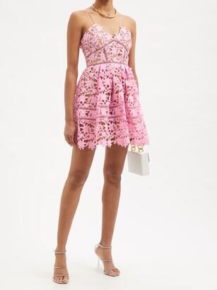 Self-Portrait Azalea Floral Guipure-lace Mini Dress - Pink