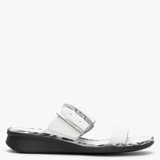Fly London Cape Off White Leather Flat Mules