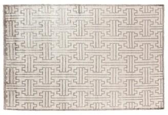 Ikat Hand Woven Silk Light Gray/Ivory Area Rug Exquisite Rugs