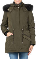 London Fog Essential Two-Piece Faux Fur Trimmed Jacket and Down Filled Vest