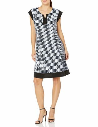 Notations Women's Petite Printed Cap Sleeve Slit Neck Dress