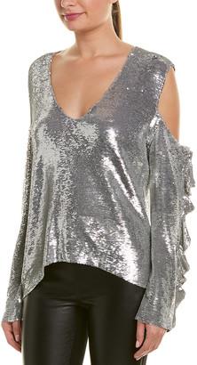 IRO Cold-Shoulder Sequin Top