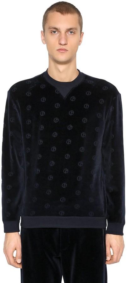 Giorgio Armani Logo Cotton Velvet Sweatshirt