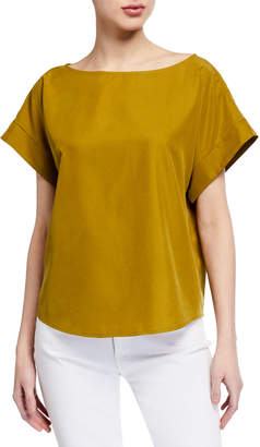 Eileen Fisher Bateau-Neck Cap-Sleeve Sandwash Lyocell Top