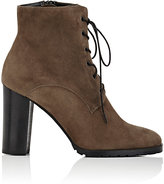 Barneys New York Women's Lug-Sole Suede Ankle Boots-GREY
