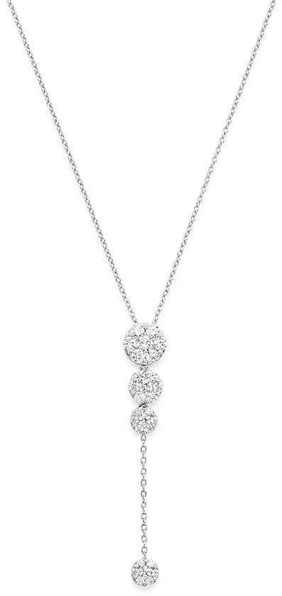 Bloomingdale's Diamond Cluster Drop Y Necklace in 14K White Gold, 1.0 ct. t.w.