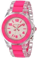 Juicy Couture Women's 1900867 Rich Girl Clear Plastic Bracelet With Neon Pink Silicone Inlay Watch