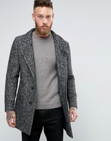 Jack and Jones Salt and Pepper Overcoat with Shawl Collar