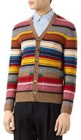 Gucci Striped Wool V-Neck Cardigan, Multicolor