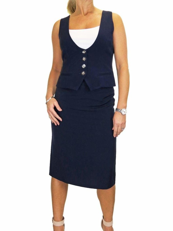 NAVY KNIT TEXTURED MAXI FULL LENGTH FISHTAIL STYLE CASUAL SKIRT SIZE 10-20