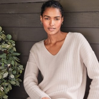 The White Company V-Neck Stitch Jumper with Cashmere, Petal Pink, Extra Small