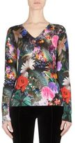 Mary Katrantzou Whist Floral-Print Wool V-Neck Sweater