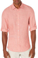 Perry Ellis Textured Rolled-Sleeve Linen Shirt