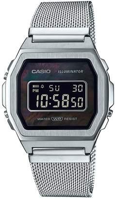 Casio Retro Black Digital Dial Stainless Steel Mesh Strap Watch