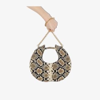 BY FAR beige Lune snake effect leather shoulder bag