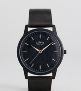 Limit Carbon Fibre Dial Mesh Watch In Black Exclusive To Asos