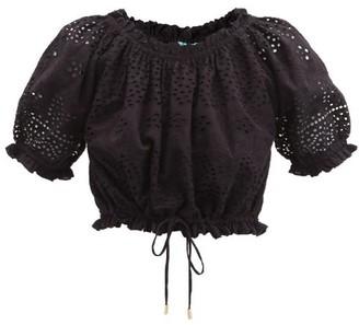 Melissa Odabash Francesca Broderie-anglaise Cotton-poplin Top - Black
