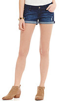 Celebrity Pink Roll Cuff Distressed Stretch Denim Shorts