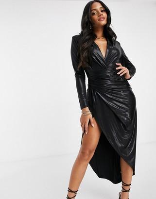 John Zack long sleeve wrap maxi dress in high shine black