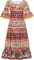 Dolce & Gabbana Bell Sleeve Midi Dress