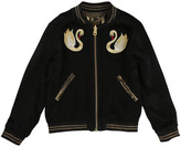 Little Marc Jacobs Swan Patch Satin Reversible Bomber Jacket