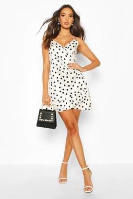 boohoo Satin Spot Wrap Ruffle Slip Dress