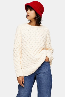 Topshop Womens Knitted Chenille Honeycomb Jumper - Ivory