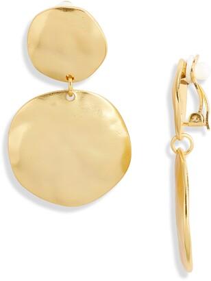 Karine Sultan Irregular Discs Clip-On Earrings