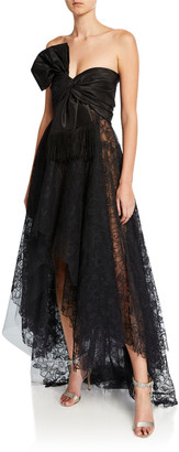 Oscar de la Renta Strapless Corded Peony Lace Bow Gown