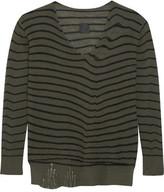 RtA Camille Distressed Striped Cashmere Sweater