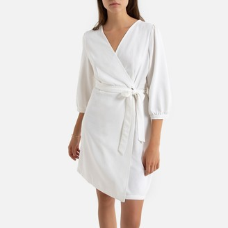 Vero Moda Linen Mix Wrapover Mini Dress with 3/4-Length Sleeves