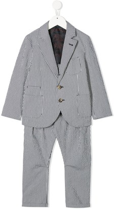 BRUNELLO CUCINELLI KIDS Striped Pattern Two Piece Suit