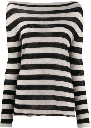 Patrizia Pepe striped off-the-shoulder jumper