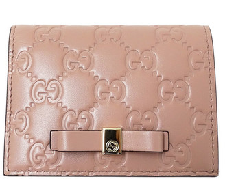 Gucci Pink Leather GG Marmont Ribbon Wallet