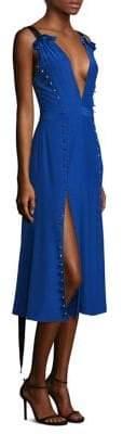Prabal Gurung Women's Silk Deep V-Neck Dress - Cobalt Blue - Size 6