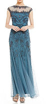 Pisarro Nights Petite Beaded Illusion Neck Gown