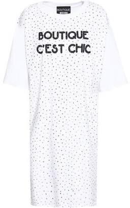Moschino Crystal-embellished Printed Cotton-jersey Mini Dress