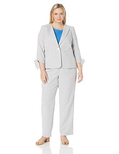 Women\'s Plus Size 1 Button TIE Sleeve Seersucker Pant Suit