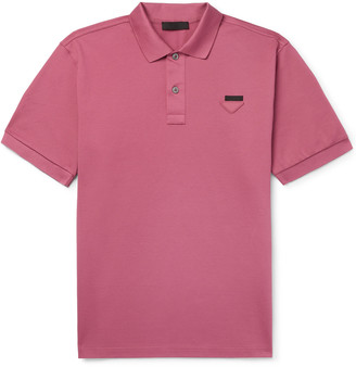 Prada Slim-Fit Logo-Appliqued Cotton-Pique Polo Shirt