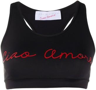 Giada Benincasa 'Ciao Amore' print sports bra